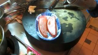 烏魚子料理 第二步驟 : 火烤