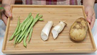 素食家常菜料理│天氣熱了要多吃這道菜,1顆馬鈴薯加1把敏豆和2條杏鮑菇,教你懶人做法,出鍋就掃光!│Potato Vegan Recipe │EP239