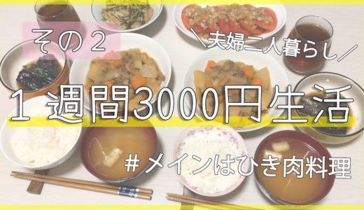 【その2】1週間食費3000円生活!メインはひき肉料理/夫婦二人暮らし/節約生活/肉じゃが【給料手取り14万円夫婦】