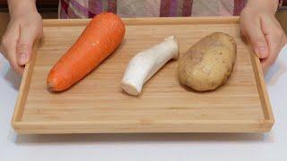 素食家常菜料理│馬鈴薯和紅蘿蔔秘製新吃法,加1個杏鮑菇,不涼拌不用燉,一次做10斤都不夠吃!天天吃都不膩!│Potato & Carrot Vegan Recipe │EP242